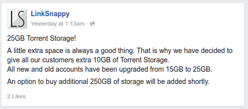 Linksnappy Elite torrent storage upgrade announcement