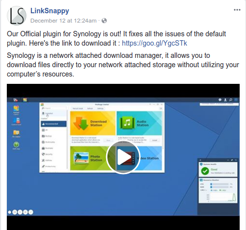 LinkSnappy Synology Facebook update