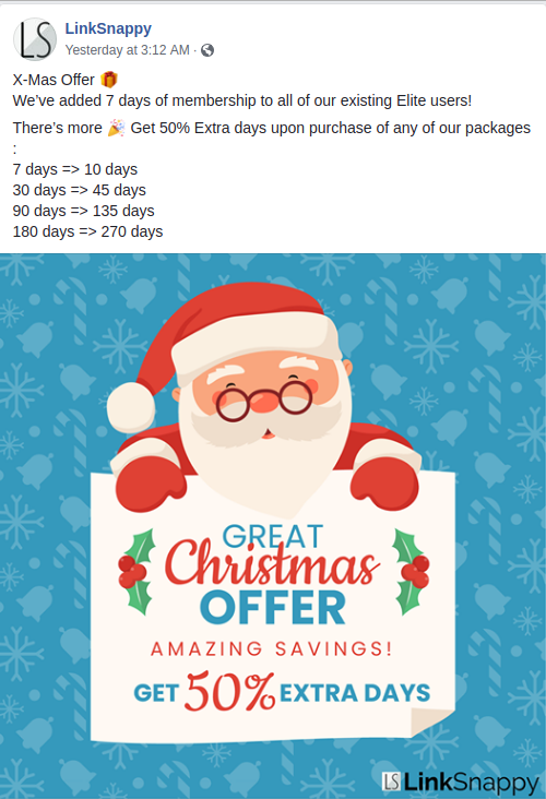 LinkSnappy Christmas 2018 special offer - Facebook